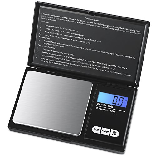 AMIR Digital Mini Scale, 100g 0.01g/ 0.001oz Pocket Jewelry Scale, Electronic Smart Scale with 7 Units, LCD Backlit Display, Tare Function, Auto Off, Stainless Steel & Slim Design (Battery Included)