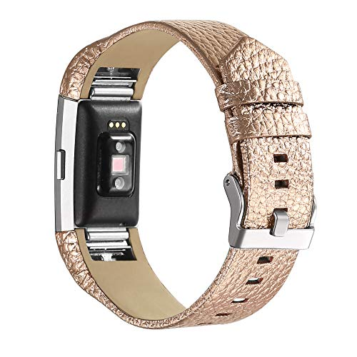 bayite Leather Bands Compatible with Fitbit Charge 2, Replacement Accessories Straps Women Men (Rose Gold)