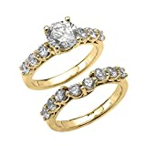 Elegant Engagement Wedding Ring Set with 4.3 Carat Total Weight CZ in 10k Yellow Gold (Size 10)