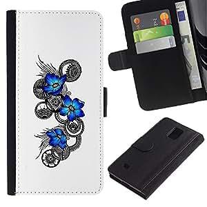 LECELL--Cuero de la tarjeta la carpeta del tirón Smartphone Slots Protección Holder For Samsung Galaxy Note 4 IV -- Flores azules Tatuaje floral --