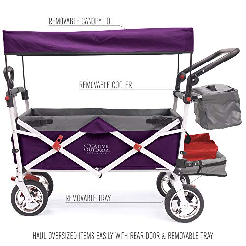Creative Outdoor Push Pull Collapsible Folding Wagon Stroller Cart for Kids   Silver Series   Beach Park Garden & Tailgate   Purple