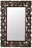 Padma Mango Wood Carved Mirror, 36''Hx24''Wx1''D, ENGLISH OAK