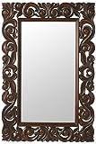 Padma Mango Wood Carved Mirror, 36''Hx24''Wx1''D, ENGLISH OAK