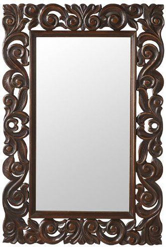 Padma Mango Wood Carved Mirror, 36''Hx24''Wx1''D, ENGLISH OAK by Home Decorators Collection