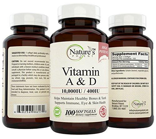 Nature's Potent Vitamin A & D 10,000 iu / 400 iu, 100 Softgels