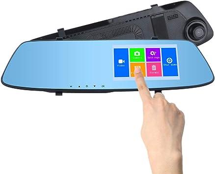 Mirror Dash CAM 4,3 Pulgadas Pantalla táctil Lente Doble 720P ...