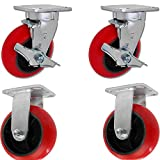 Caster Barn - 6'' X 2'' Tool Box Caster KIT Set of 4 - RED Polyurethane Wheel - 5,000 lbs Capacity