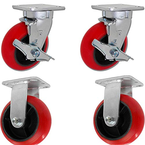 Caster Barn - 6'' X 2'' Tool Box Caster KIT Set of 4 - RED Polyurethane Wheel - 5,000 lbs Capacity by Caster Barn