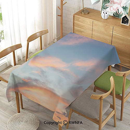 (Homenon Tablecloth for Dining Room for Rectangle Tables,Skyline with Clouds Sunset Artistic Photography Inspiring Majestic Image,Machine Washable,Pale Blue Yellow Peach,55