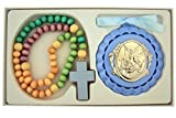 Multi Color Wooden Prayer Bead Rosary with Guaridan Angel Crib Medal, 12 1/2 Inch (Blue)