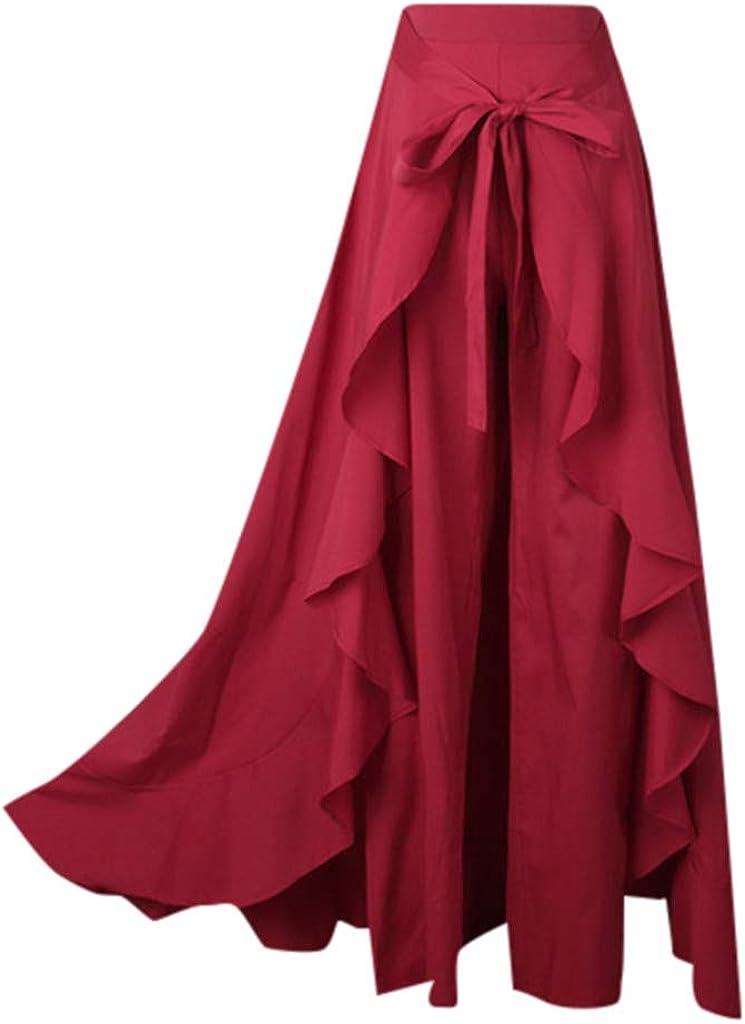 QueenMM Womens Casual Ruffle Wide Leg Pants High Waist Tie Front Maxi Long Palazzo