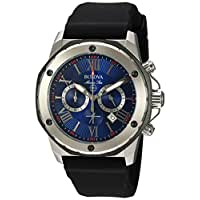 Bulova Men's Quartz Stainless Steel and Silicone Casual Watch, Color:Black (Model: 98B258)
