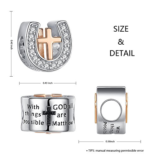 Religious Cross God Bible Faith Christian Charm 925 Sterling Silver Horseshoe Charm Bead fit Pandora European Bracelets Birthday Anniversary Gifts for Women Wife Girlfriend Teen Girls by ANGELFLY (Image #1)