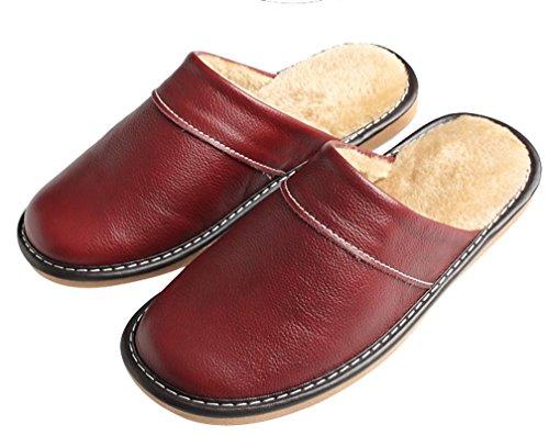 Pantofole Di Cuoio Coperte Dellinterno Calde Dellinterno Del Cuoio Di Cattior Scarpe Rosse Profonde Della Casa Delle Donne