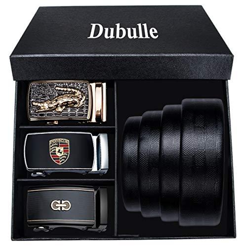 [해외]Dubulle 남성용 블랙 가죽 벨트 스트랩 자동 버클 소가죽 래칫 벨트 조절 가능한 슬라이딩 버클 벨트 / Belt Gifts for Business Men Black Leather Strap Ratchet Automatic Buckle Fashion Jeans Belt Set