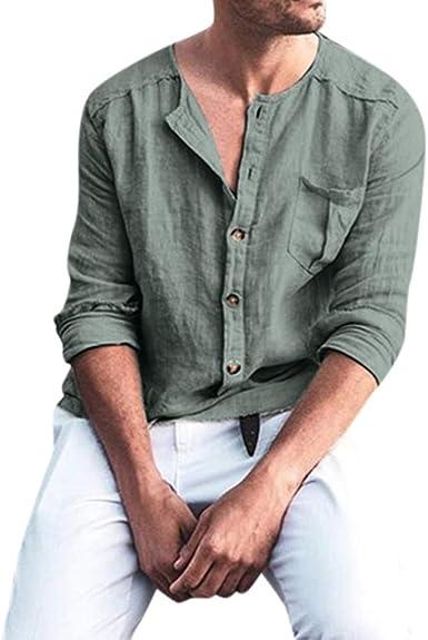 CAOQAO Camisas Hombre Lino Bolsillo en el Pecho Color Liso Suelto Cómodo Manga Larga Top Informal Suelto: Amazon.es: Ropa y accesorios