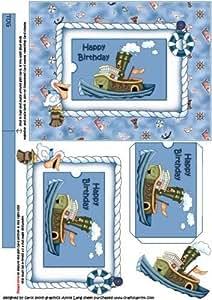 El cumpleaños Tug barco con titular de la tarjeta de regalo por Carol Smith