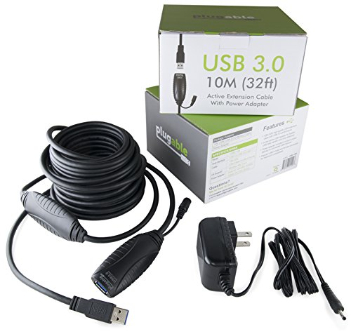 Plugable 10 Meter (32 Foot) USB 3.0 Active Extension Cable with AC Power Adapter and Back-Voltage Protection by Plugable (Image #4)
