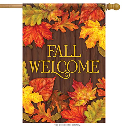 Lovely Leaves Fall House Flag Autumn Welcome Primitive Doubl