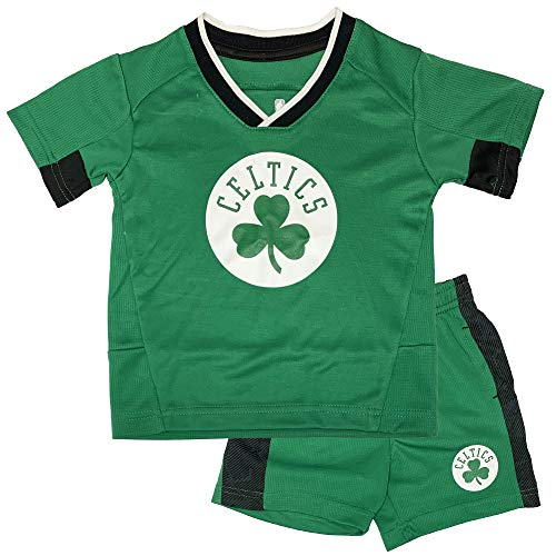 Outerstuff NBA Toddler Team Color Double Dribble Primary Logo Shirt & Shorts Set (4T, Boston ()