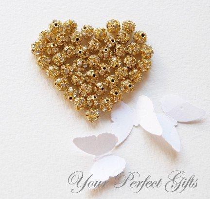 20 pcs Swarovski Rhinestone Crystal Gold Plated Bead Spacer Ball 6mm Jewelry Craft Supplies AC012
