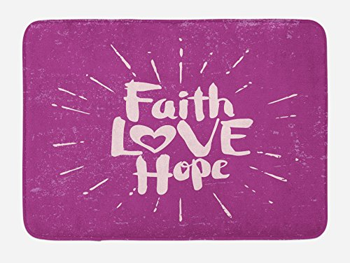Ambesonne Hope Bath Mat, Illustration of Western Spiritual Message Faith Hope Slogan on Purple Backdrop, Plush Bathroom Decor Mat with Non Slip Backing, 29.5 W X 17.5 W Inches, Purple and Lilac by Ambesonne