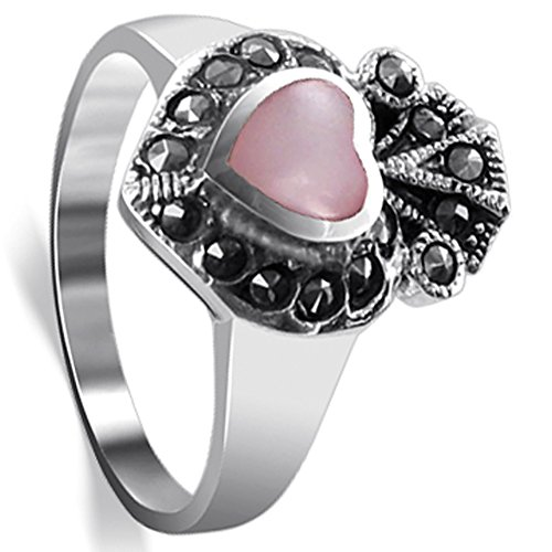 - Gem Avenue 925 Sterling Silver Pink Heart Shell Inlay Marcasite Ring Size 8