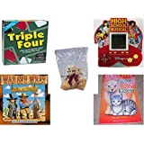 Children's Fun & Educational Gift Bundle - Ages 6-12 [5 Piece] - Triple Four Game - High School Musical 5 in 1 Electronic Handheld Game - Bialosky Treasury 1989 Bowtie Charlie Teddy Bear - Way Out