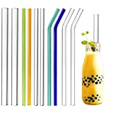 """Youngever Reusable Glass Straws Assortment, 9"""" L x 3 Different Widths 14mm, 10mm, 8mm, Straight and Bent, Color and Clear, Eco Friendly, BPA Free, for Milkshakes, Frozen Drinks, Smoothies, Bubble Tea"""