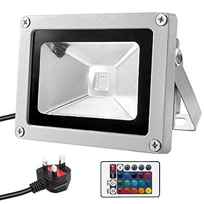 Comwinn Outdoor LED Flood Light, 10W Daylight White 6500K Waterproof Security Lights with US 3-Plug for Garden,Scenic Spot,Hotel