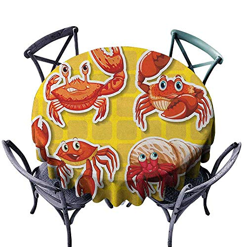 ScottDecor pad Round Tablecloth Outdoor Picnics Crabs,Stickers of Four Different Crabs Illustration in Cartoon Style Print, Earth Yellow and Orange Diameter ()