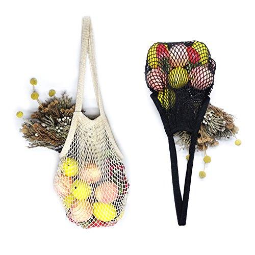 Tidawave Net Shopping Bag Cotton Market String Reusable Net Shopping Tote with Long Handles Washable Mesh Fruit Vegetable Pack of 2 (Natural + Black)