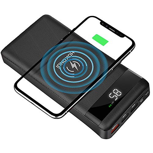 HOKONUI Wireless Portable Chargers, 10W Qi Fast Charge 20000 mAh Power Bank 5 Output USB Type-C LCD Display High Capacity External Battery Pack for Cell Phones, iPhone, Ipad, Samsung Galaxy and More (Fast Charging Power Bank For Note 5)