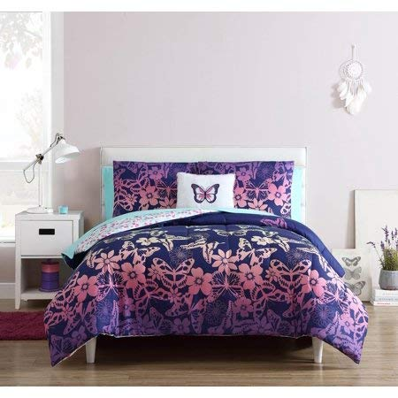 Dress Your Kids Bedroom with Beautiful,Soft and Elegant Mainstays Kids Butterfly Print Bed in a Bag,Sheet Set Included,Twin-XL