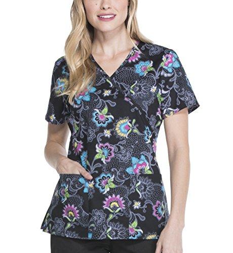 ScrubStar Embrace Lace Women's Mock Wrap Printed Scrub Top (Large)