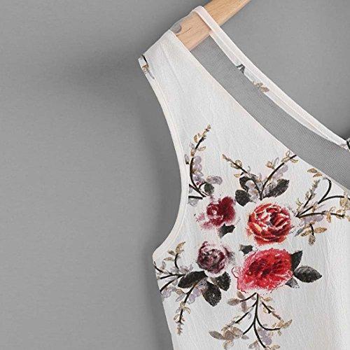 Donne Shirt Donna in Canotte Camicetta CLOOM Bluse Estate T Scollo Camicia Bianco Maglia Donna Camicia E Top Chiffon Canotte Senza Elegante E Camicie Magliette Maniche Camisole AV CqB5p