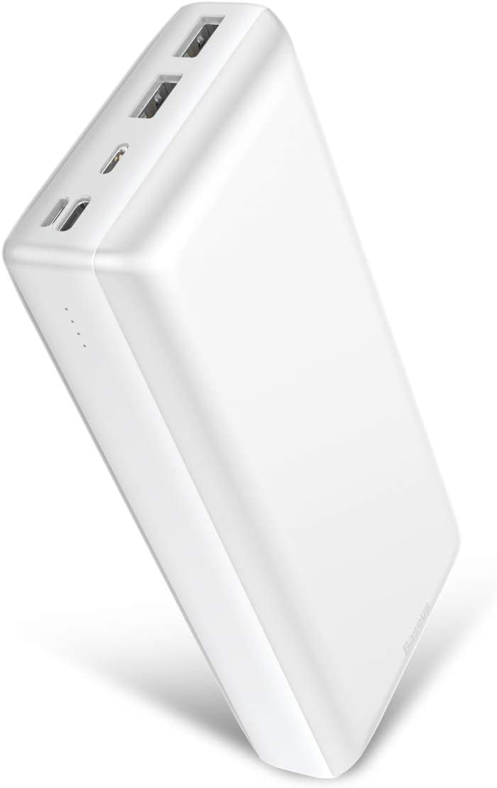 Power Bank 30000mah, Baseus 3A Fast Charging Portable Charger with 3 Speed Recharging, 3 Output Port Portable Charger for iPhone 11 Pro Max, iPad, Mac, Samsung Galaxy, USB-C Laptops and More (White)