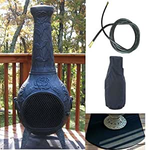 QBC Bundled Blue Rooster Rose Chiminea with Propane Gas Kit, Half Round Flexbile Fire Resistent Chiminea Pads, Free Cover, and 10 ft Gas Line Antique Green Color - Plus Free QBC Metal Chiminea Guide