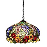 FUMAT Tiffany Pendant Lights E26 LED Stained Glass Hanging Light Fixtures 16'' Rose Chandelier Lighting 110V Ceiling Pendant Lamp