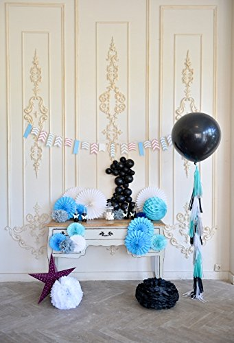 Yeele Photography Backdrop Paper Flowers Balloons Colored Flags 5x7ft Fairy Baby Birthday Party Decoration Princess Portraits Girls Kids Boy Photos Background Video Studio Props -
