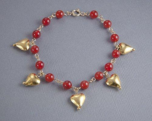 Gold Vermeil Heart Link - Gold Heart Bracelet, Gold Charm Bracelet,Heart Charm Bracelet, Gold Heart Charm Bracelet, Red Carnelian Bracelet, LLD Jewelry