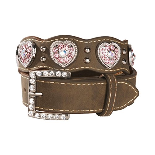Nocona Girl's Heart Shaped Conchos Belt, Medium Brown Distressed, 22
