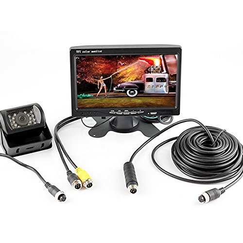 Car Turck Bus Parking Kit Combo Set 4 PIN Plug 7 inch Monitor with Heavry Duty Reverse Rear View Backup Camera by HitCar - 7 Pin 4 Pin Video Cable