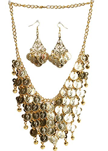 ZLTdream Belly Dance Gypsy Jewelry Accessories Dancing Necklace+Earrings 3pcs/Set Gold]()