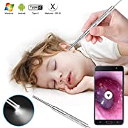 #LightningDeal Digital Otoscope, Scopearound 2019 New Upgrade 3.9mm Diameter Visual Ultra-Slim HD Ear Scope Camera Ear Cleaner with Ear Wax Removal Tool and 6 Adjustable LED Lights for Android, Window and Mac