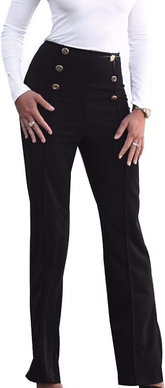 Amazon Com Guolezeev Pantalones Acampanados Para Mujer Cintura Alta Con Botones Clothing