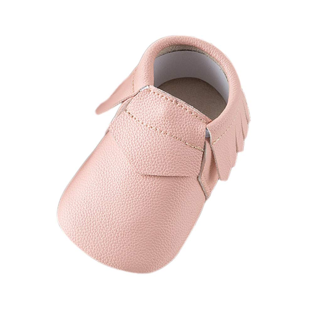 NUWFOR Baby Boy Girl Natural Leather Upper Cute Cartoon Shoes Warm Toddler Shoes Winter(Pink,6-12Months)