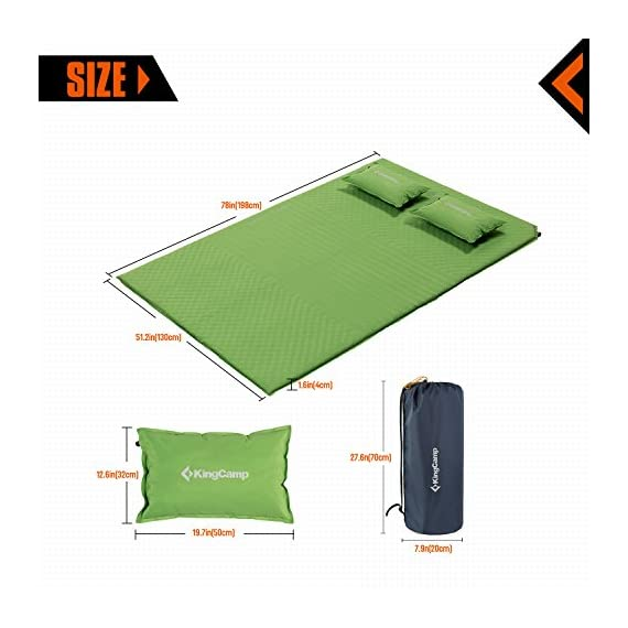 "KingCamp Double Self Inflating Camping Sleeping Pad Triple Zone with 2 Pillows 5 Full inflating size 78"" x 51.2"" x 1.6""; TRIPLE ZONE design make this pad more comfortable; 100% Micro Brushed 75D Polyester, damp-proof, eco-friendly and durable. Two self inflating PILLOWS to add more comfort Two durable non-corrosive brass valves provide rapid inflation and deflation. It is convenient to adjust the comfort level of this self-inflating camp pad Comes with two compression straps, an oversized oxford carrying bag and repair kit (Glue Not Included); Essential for camping, hiking, home living and any other outdoor activities"
