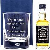 Engraved Bubble Based Glass & Jack Daniels Miniature Gift Set For Best Man/Wedding/Birthday/Mum/Dad