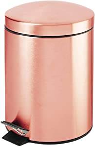 mDesign Modern 1.3 Gallon Round Small Metal Step Trash Can Wastebasket, Garbage Container Bin - for Bathroom, Powder Room, Bedroom, Kitchen, Craft Room, Office - Removable Liner Bucket - Rose Gold